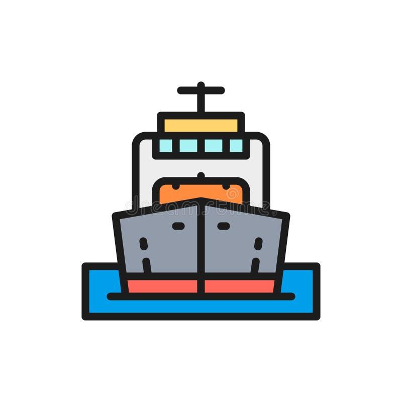 Wektorowy ładunku statek, łódź, nafciany transport, rejsu koloru linii płaska ikona royalty ilustracja
