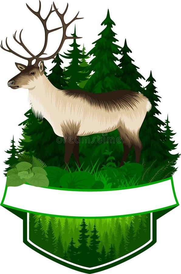 Wektorowy łowiecki lasu emblemat z raindeer royalty ilustracja