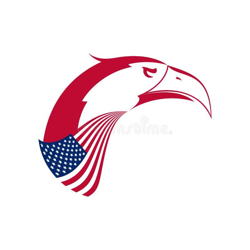 Wektorowy Łysego Eagle ` s głowy emblemat Stylizowany symbol Stany Zjednoczone Amerykanin Eagle i flaga amerykańska royalty ilustracja