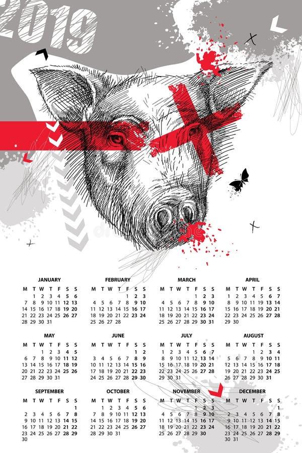 Wektorowy ścienny kalendarz dla 2019 rok w grat polce z nakreślenie głową świnia w czerni Poniedziałku początek Symbol Chiński no ilustracja wektor