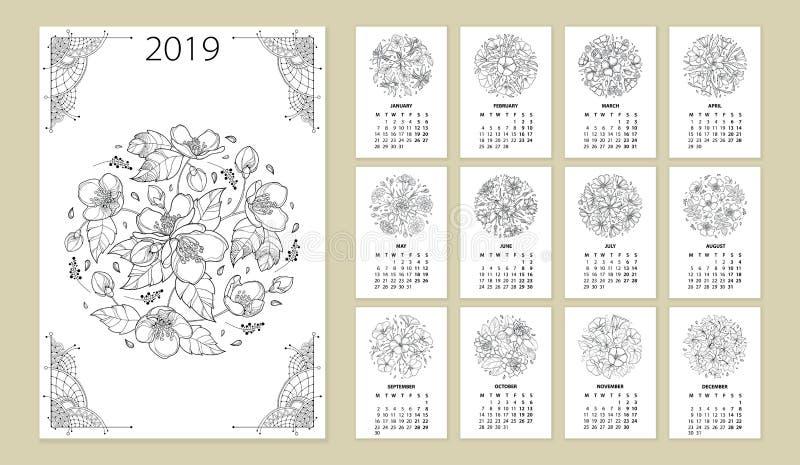 Wektorowy ścienny kalendarz dla 2019 rok z konturu kwiatu round bukietem w czerni Pokrywa z ozdobną Jaśminową kwiat wiązką ilustracji