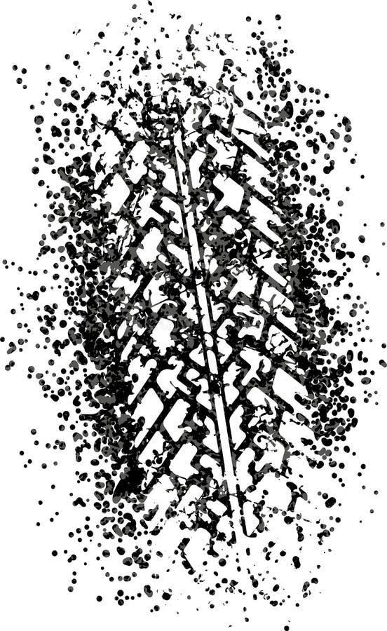 Wektorowy śladu projekta ślad opona w grunge stylu ilustracja wektor