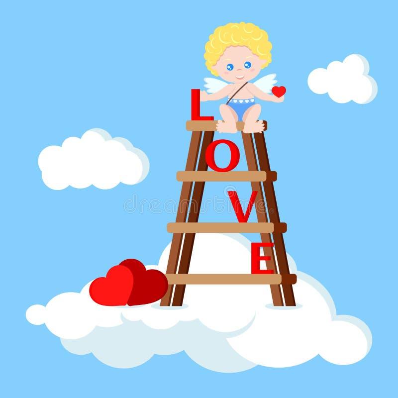 Wektorowy śliczny amorek chłopiec obsiadanie na schodkach z sercem ilustracja wektor
