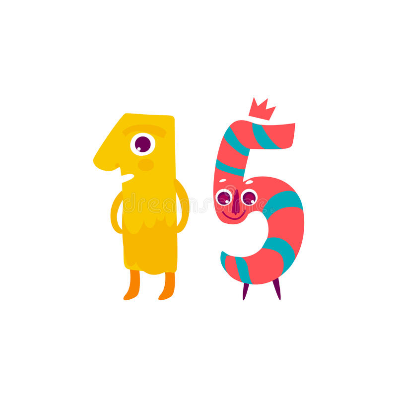 Wektorowy śliczny animallike charakter liczba piętnaście 15 royalty ilustracja