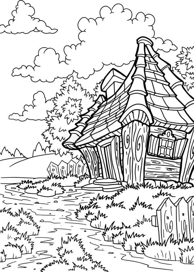 Wektorowy śliczny bajka dom t?o ilustraci linia ?niegu lampas?w wektor royalty ilustracja