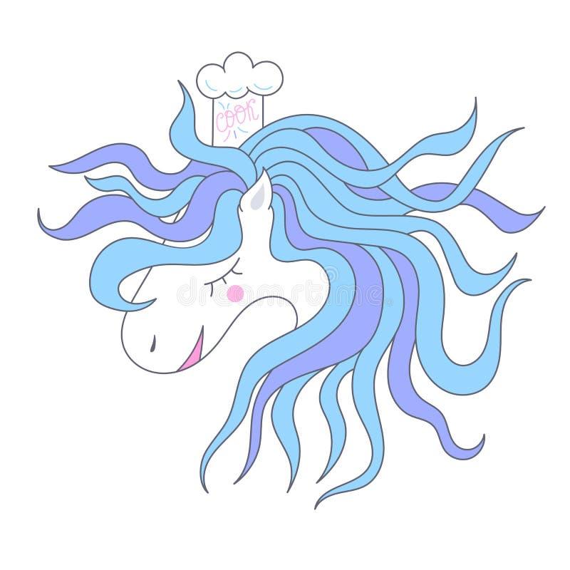 Wektorowy śliczny koń, znak dla dziecka ` s przyjęcia, druku projekt dla koszulki kreskówki Szefa kuchni kucharz royalty ilustracja