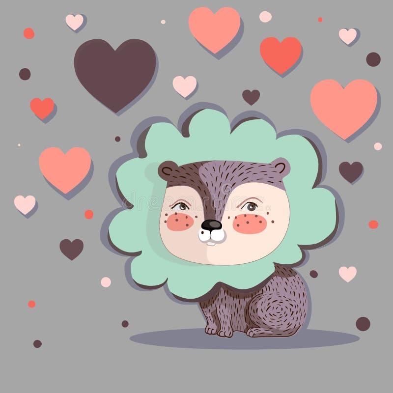 Wektorowy śliczny lew w miłości ilustracja wektor
