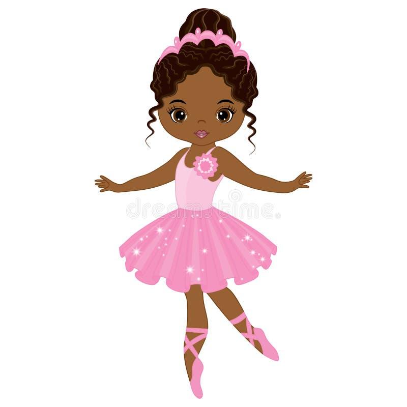 Wektorowy Śliczny Mały amerykanin afrykańskiego pochodzenia baleriny taniec ilustracji