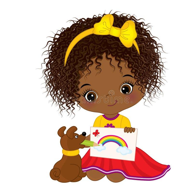 Wektorowy śliczny Mały amerykanina afrykańskiego pochodzenia artysty rysunek Wektorowa mała dziewczynka ilustracja wektor