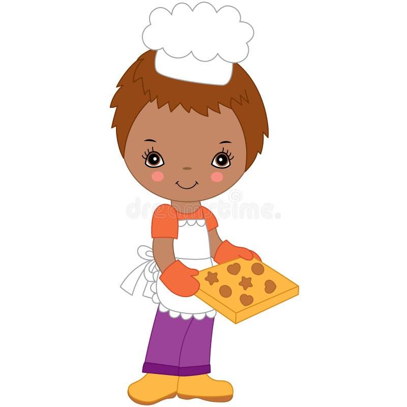 Wektorowy Śliczny Mały amerykanina afrykańskiego pochodzenia szef kuchni Wektorowa chłopiec ilustracja wektor