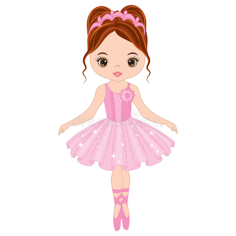 Wektorowy Śliczny Mały balerina taniec royalty ilustracja
