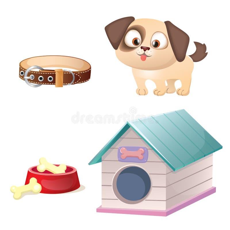 Wektorowy Śliczny Psi opieka set ilustracja wektor