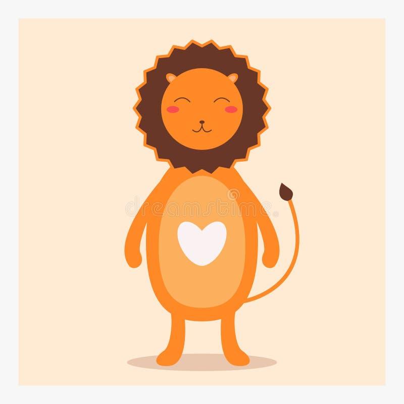 Wektorowy śliczny szczęśliwy płaski dzikie zwierzę lew z białym sercem na klatce piersiowej i długim ogonie ilustracja wektor