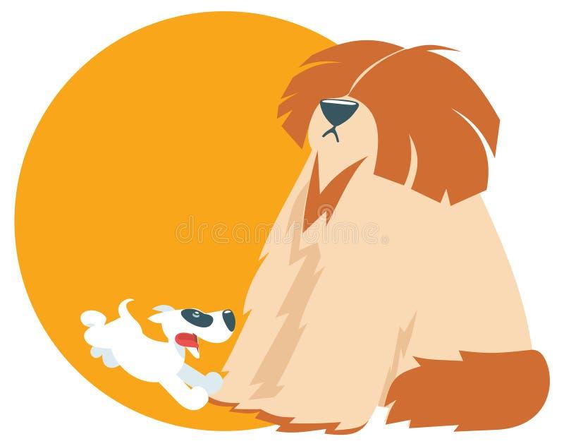 Wektorowy śliczny szczeniaka bieg z kostrzewiastym psem, ilustracji