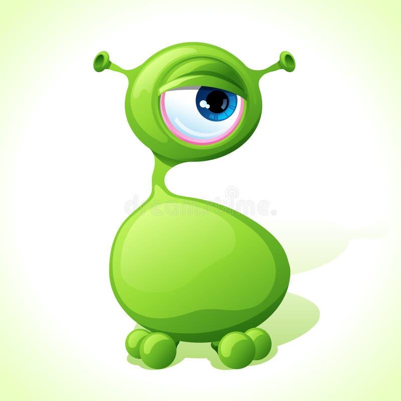 Wektorowy śliczny zielony potwór odizolowywający na bielu ilustracja wektor