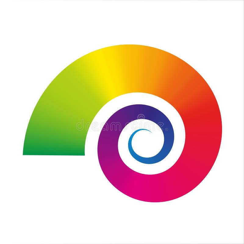 Wektorowy ślimaczek ikony tęczy gradient barwił - ślimaczka royalty ilustracja