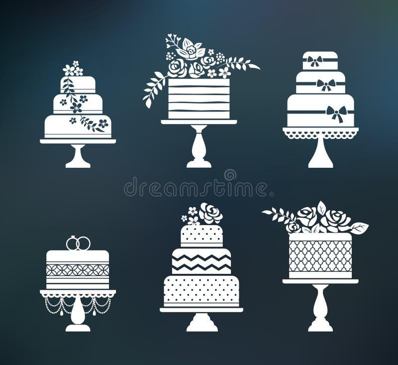 Wektorowy ślub, urodzinowi kwiatów torty ustawiający royalty ilustracja