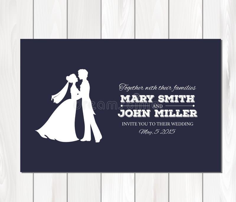 Wektorowy ślubny zaproszenie z profilowymi sylwetkami royalty ilustracja