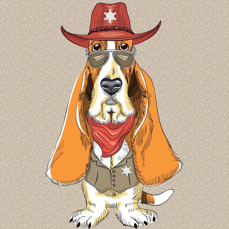 Wektorowy śmieszny kreskówka modnisia pies Basset Hound ilustracja wektor