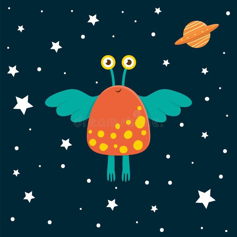 Wektorowy śmieszny obcy z ufo w przestrzeni i gwiazdach royalty ilustracja