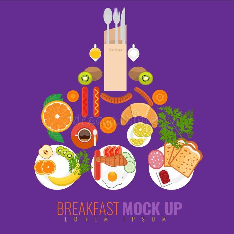 Wektorowy śniadaniowy mockup pojęcie z jedzeniem i napojami ilustracja wektor