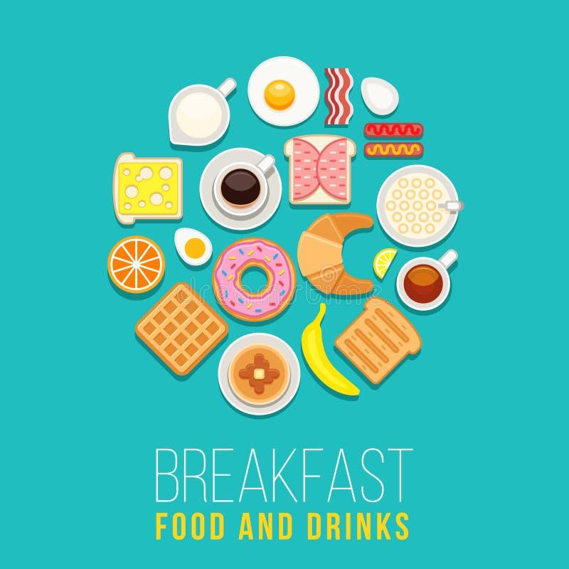 Wektorowy śniadaniowy pojęcia jedzenie, napoje z płaskimi ikonami w okręgu składzie i royalty ilustracja