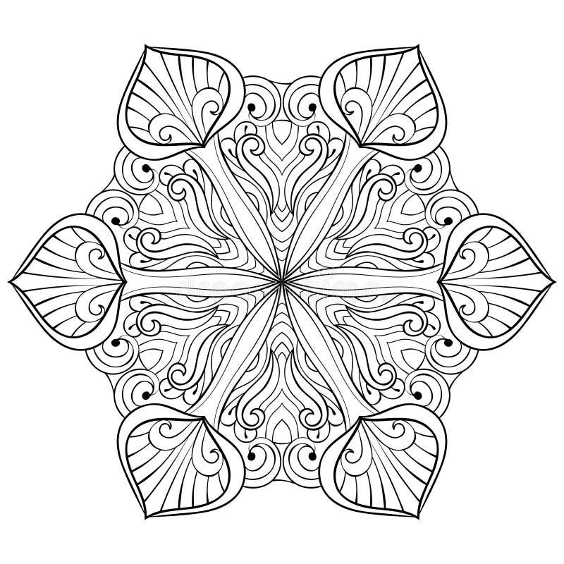 Wektorowy śnieżny płatek w zentangle doodle stylu, mandala dla dorosłego c ilustracja wektor