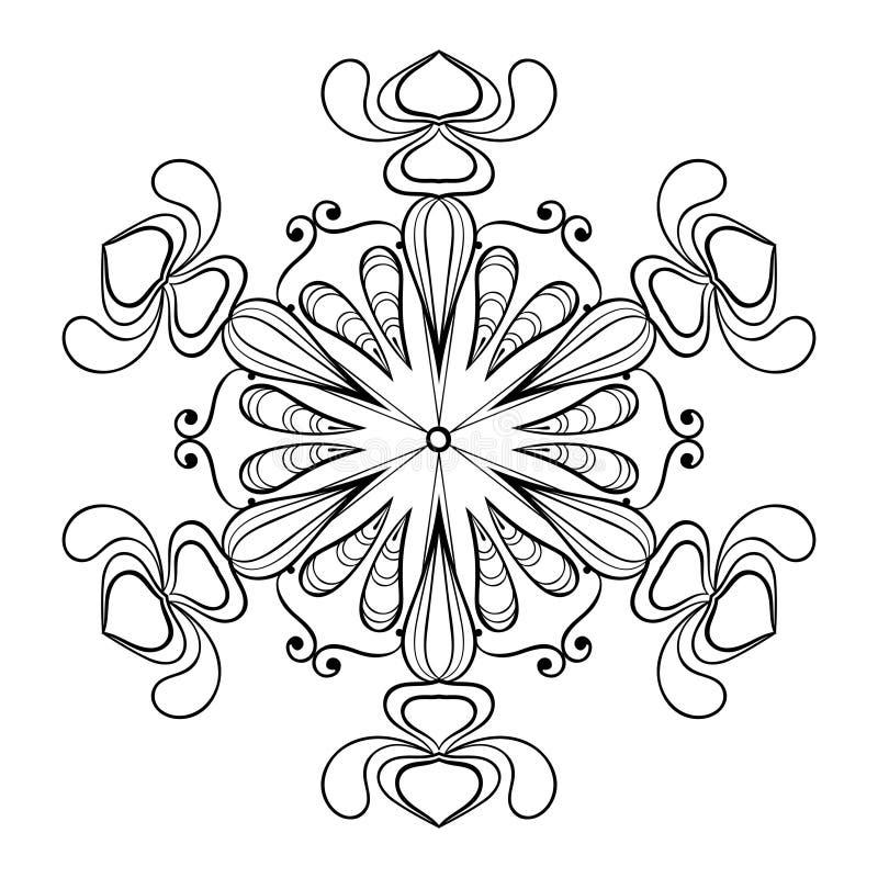 Wektorowy śnieżny płatek w zentangle doodle stylu, rocznika mandala dla ilustracja wektor