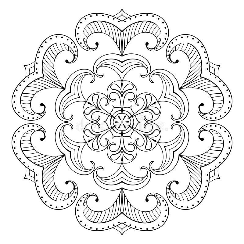 Wektorowy śnieżny płatek w zentangle stylu, papierowy wycinanki mandala dla a royalty ilustracja