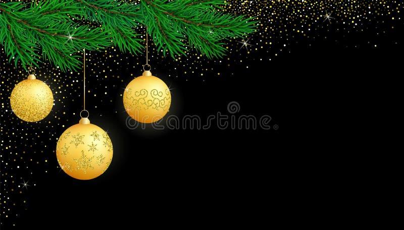 Wektorowy świąteczny Bożenarodzeniowy horyzontalny szablon z kopii przestrzenią na czerni ilustracja wektor