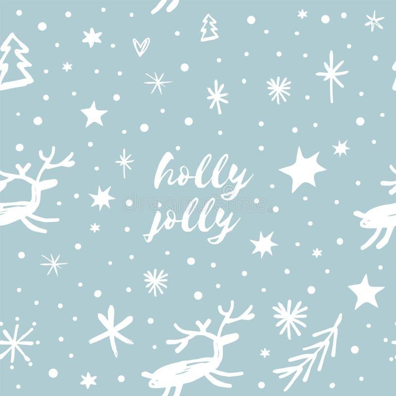 Wektorowy świąteczny wzór, ornament, tapeta, opakunkowy papier, śmieszni deers na ciemnym tle ilustracji