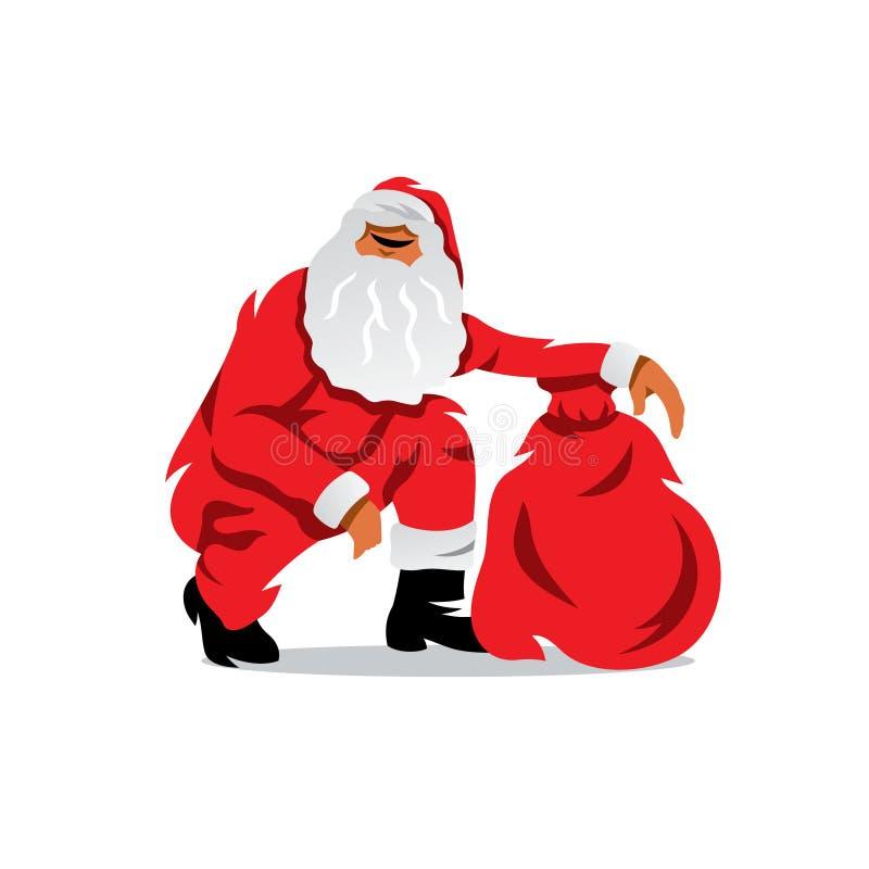 Wektorowy Święty Mikołaj z workiem prezent kreskówka ilustracji
