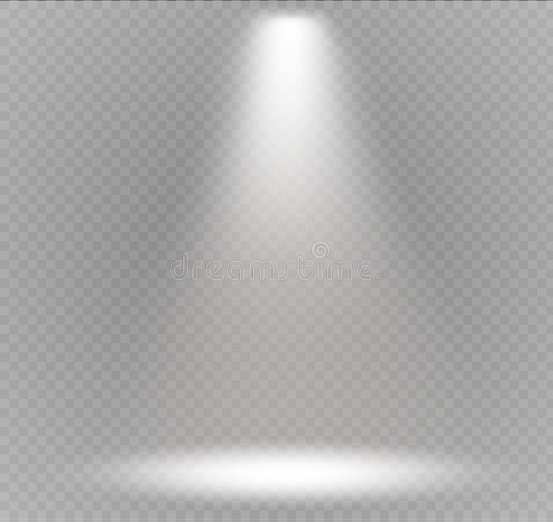Wektorowy światło reflektorów Lekki skutek Sceny iluminacja, przejrzyści skutki na szkocka krata zmroku tle ilustracja wektor
