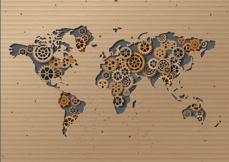 Wektorowy Światowej mapy Brown karton ilustracja wektor
