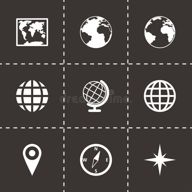 Wektorowy światowej mapy ikony set ilustracja wektor