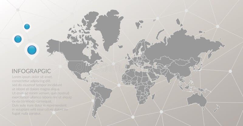 Wektorowy światowej mapy infographic symbol Kartografuje pointer ikony, abstrakcjonistyczny poligonalny podłączeniowy tło z globa royalty ilustracja