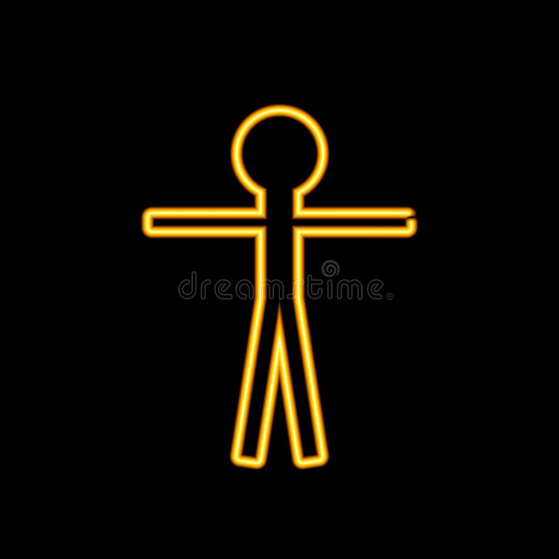 Wektorowy Żółty Neonowy mężczyzna znak, Rozjarzony Kreskowego rysunku jaśnienie royalty ilustracja