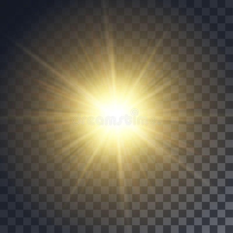 Wektorowy żółty słońce obraz royalty free