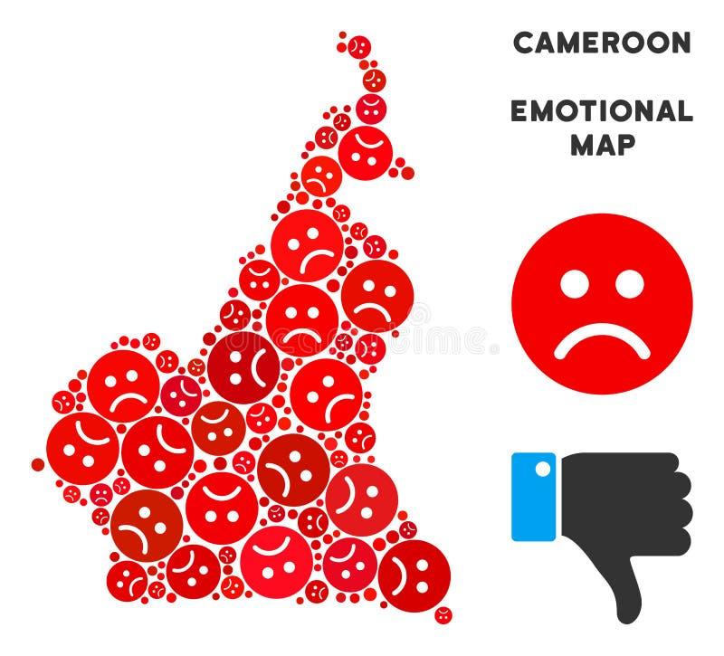 Wektorowy Żałosny afrykanina Cameroon mapy kolaż Smutny Emojis ilustracji