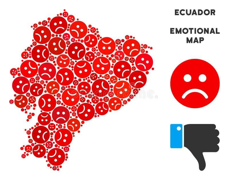 Wektorowy Żałosny Ekwador mapy kolaż Smutni Smileys ilustracji