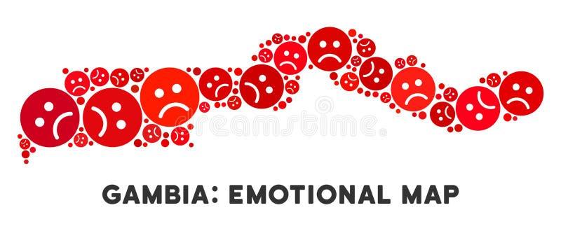Wektorowy Żałosny Gambia mapy skład Smutny Emojis ilustracja wektor