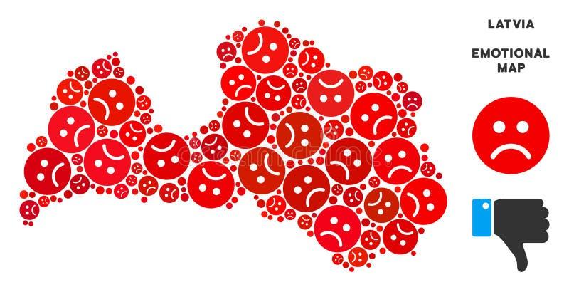 Wektorowy Żałosny Latvia mapy kolaż Smutny Emojis ilustracji