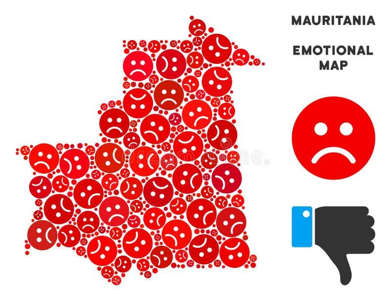 Wektorowy Żałosny Mauretania mapy kolaż Smutni Smileys ilustracji