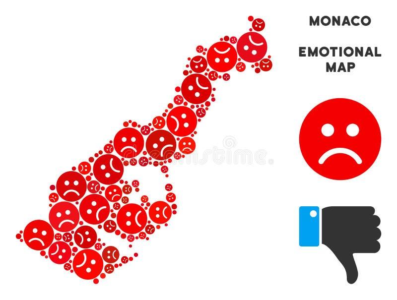 Wektorowy Żałosny Monaco mapy skład Smutny Emojis ilustracja wektor