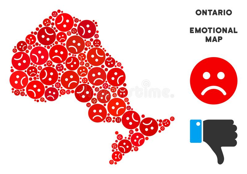 Wektorowy Żałosny Ontario mapy Gubernialny kolaż Smutny Emojis ilustracji