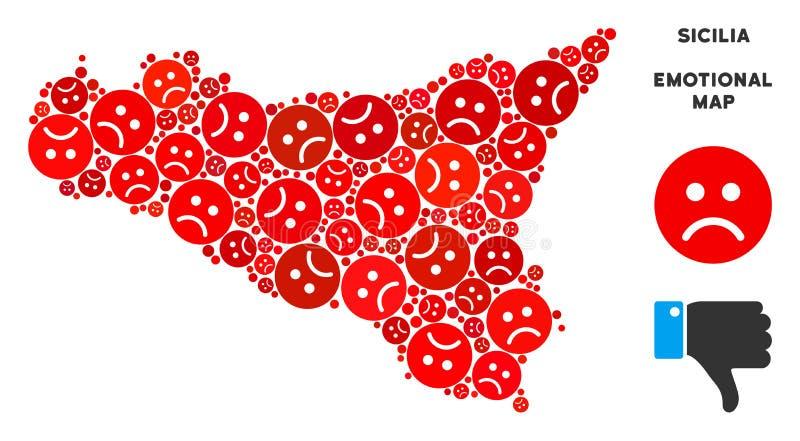 Wektorowy Żałosny Sicilia mapy skład Smutny Emojis ilustracji