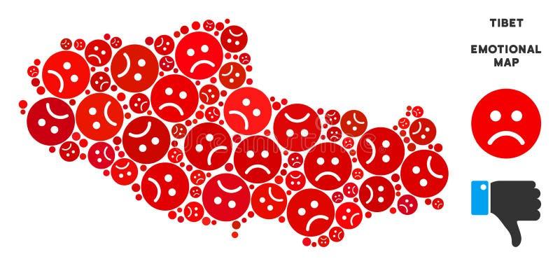 Wektorowy Żałosny Tybet terytorium mapy Chiński skład Smutny Emojis royalty ilustracja