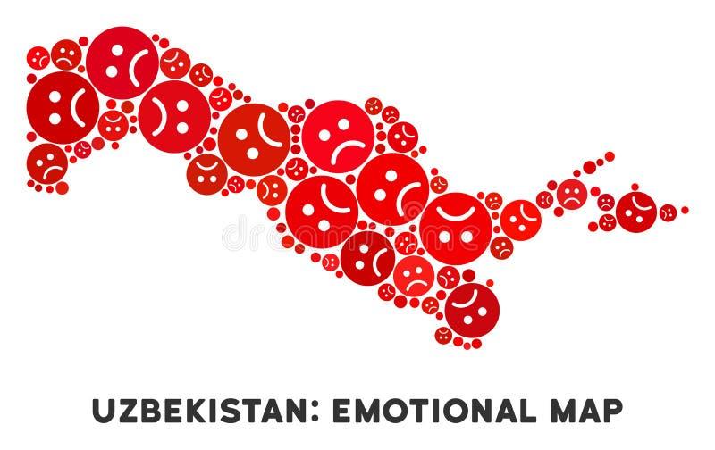 Wektorowy Żałosny Uzbekistan mapy skład Smutny Emojis royalty ilustracja