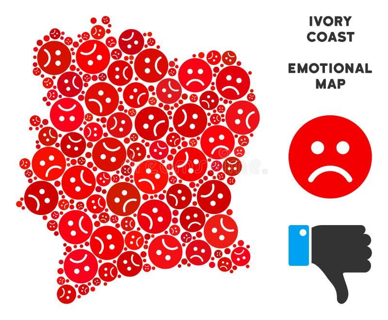 Wektorowy Żałosny Z kości słoniowej wybrzeża mapy kolaż Smutni Smileys royalty ilustracja