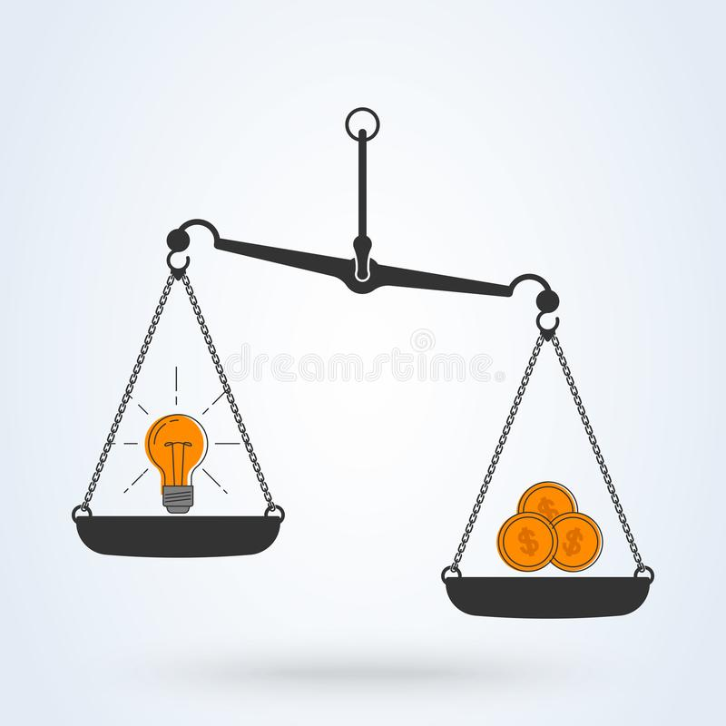 Wektorowy żarówka pomysł, pieniądze na skalach i barwimy ikonę Wektorowy płaski kreskowej sztuki projekta biznesu pojęcie ilustracja wektor